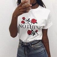 Nothing Letter Print Rose Harajuku T Shirt Women 2017 Short Sleeve Summer Casual Loose TShirt Female