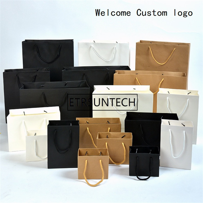 200pcs/lot Black/Brwon/White Kraft Paper Bag With Handle Wedding Party Favor Paper Gift Bags Welcome Custom Logo