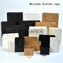 Sacs en papier kraft noir/Brwon/blanc, avec poignée, sacs cadeaux pour fête de mariage, bienvenue avec logo personnalisable, 200 unités/lot