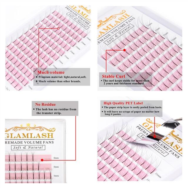 GLAMLASH Eyelash Extension Long Stem Lashes 0.07mm 0.10mm Thickness Pre-fan 2D 3D 4D 5D 6D Russian Volume Lashes Extension 4