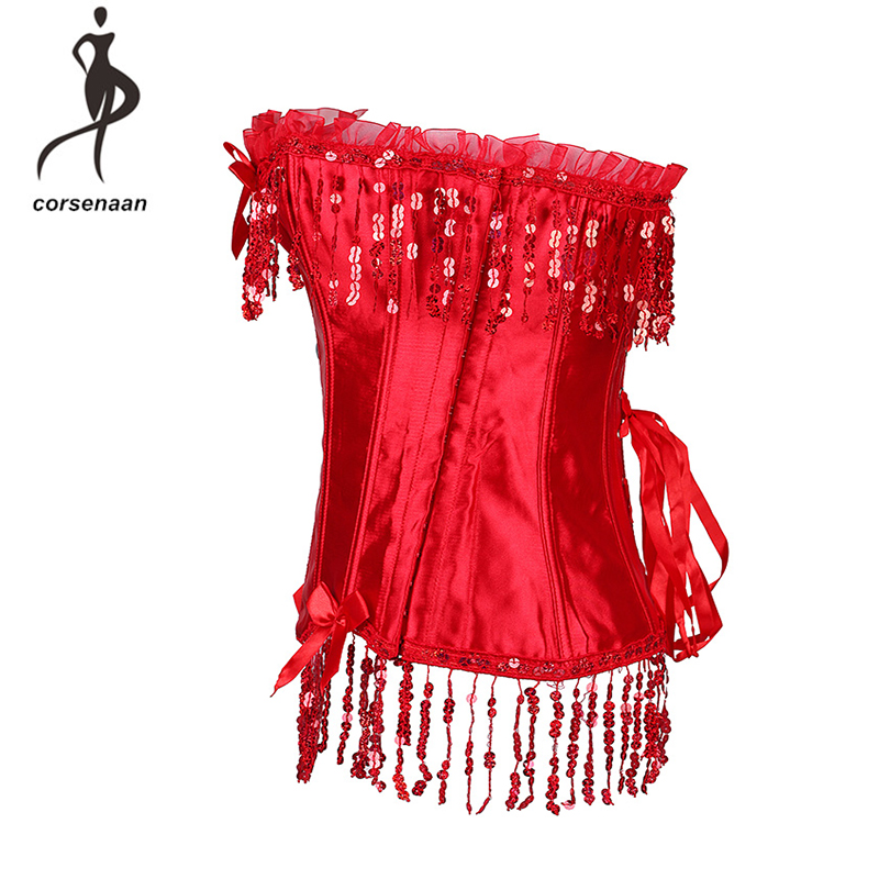 Satin Material Bowknot Fasion Sexy Lingerie Dance Wear Costume Red Lace Trimmed Bustier Corset For Party Show Size S-XXL 803#