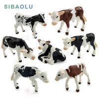 Figura de simulación de granja de plástico de vaca lechera, buey, modelo de animal, bonsái, decoración para el hogar, figura en miniatura para decoración de jardín, accesorios modernos