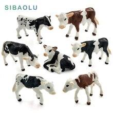 Farm poultry Kawaii Simulation mini milk Cow Cattle Bull Calf plastic Ox animal model figurine toy figures home Decor decoration