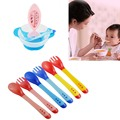 1 Set Baby Temperature-sensing Feeding Spoon+Fork  Silicone baby spoon  Soft head Complementary Feeding Spoon Fork