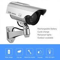 Dummy Camera Solar Battery Powered Flicker Blink LED Fake Indoor Outdoor Surveillance Security Camera Bullet CCTV
