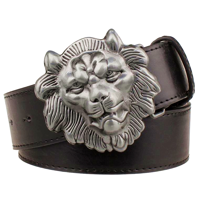 Fashion men's belt Lion head strap casual leather belt male vintage belt metal smooth buckle strap lion's head belt men gift
