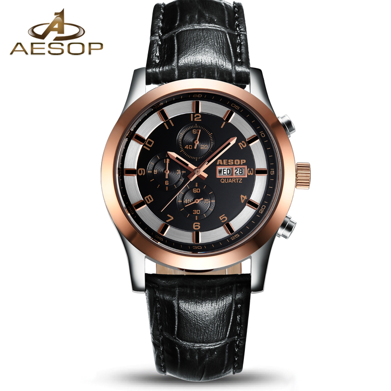 AESOP Fashion Black Watch Men Quartz Wrist Wristwatch Week Display Leather Strap Male Clock Relogio Masculino Hodinky Box New 27 hot design leather strap watch elegant quartz wristwatch men women clock black