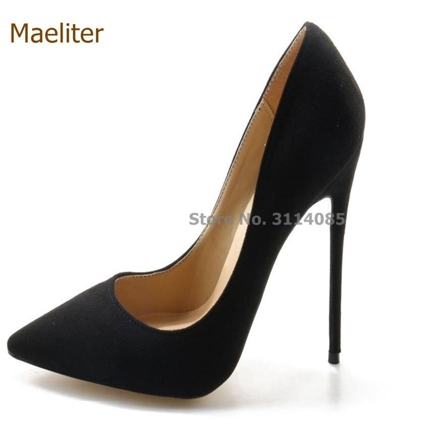 Sexy kobiety czarne zamszowe buty na wysokim obcasie urząd Lady ulubiony Pointed Toe codzienna sukienka pompy rozmiar US6-10 rabat cena projektant