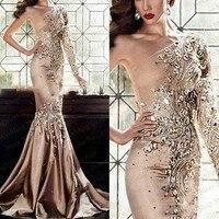 Gorgeous Evening Dresses One Shoulder Sleeve robe de soiree Bead Evening Dress Long vestido de festa 2018 abiye gece elbisesi