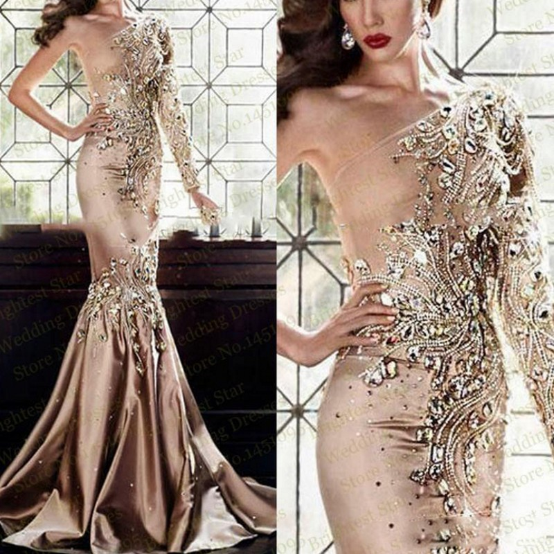 Gorgeous   Evening     Dresses   One Shoulder Sleeve robe de soiree Bead   Evening     Dress   Long vestido de festa 2018 abiye gece elbisesi