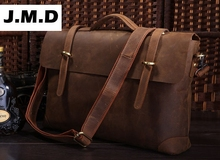 JMD free shipping Rare Genuine Cow Leather Men's Briefcase Laptop Handbag Messenger Bag 7082R