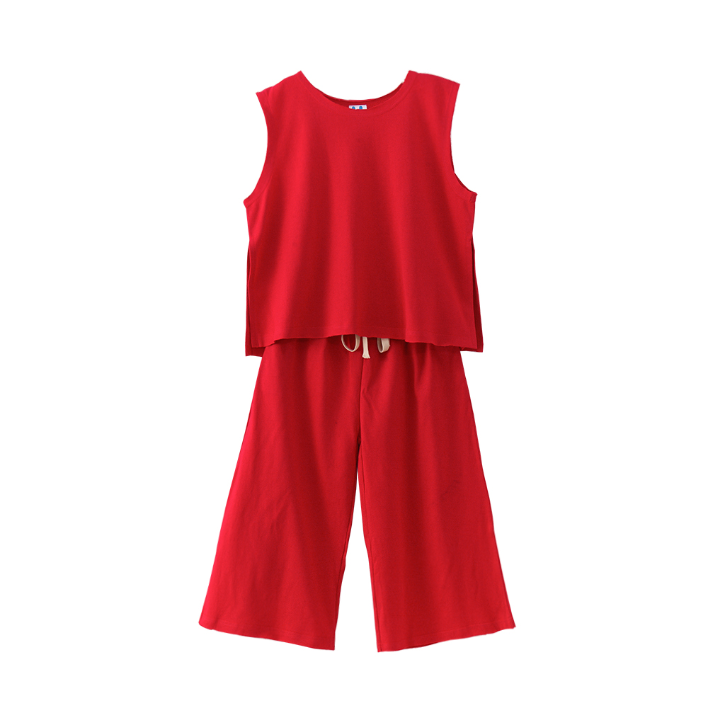 B-S196 New Fashion Summer Girls Casual Set 5-13T Teenager Girl Solid Color Set Kids Sleeveless T-shirt+Trousers 2pcs Outfit Suit запонки arcadio rossi 2 b 1022 13 s