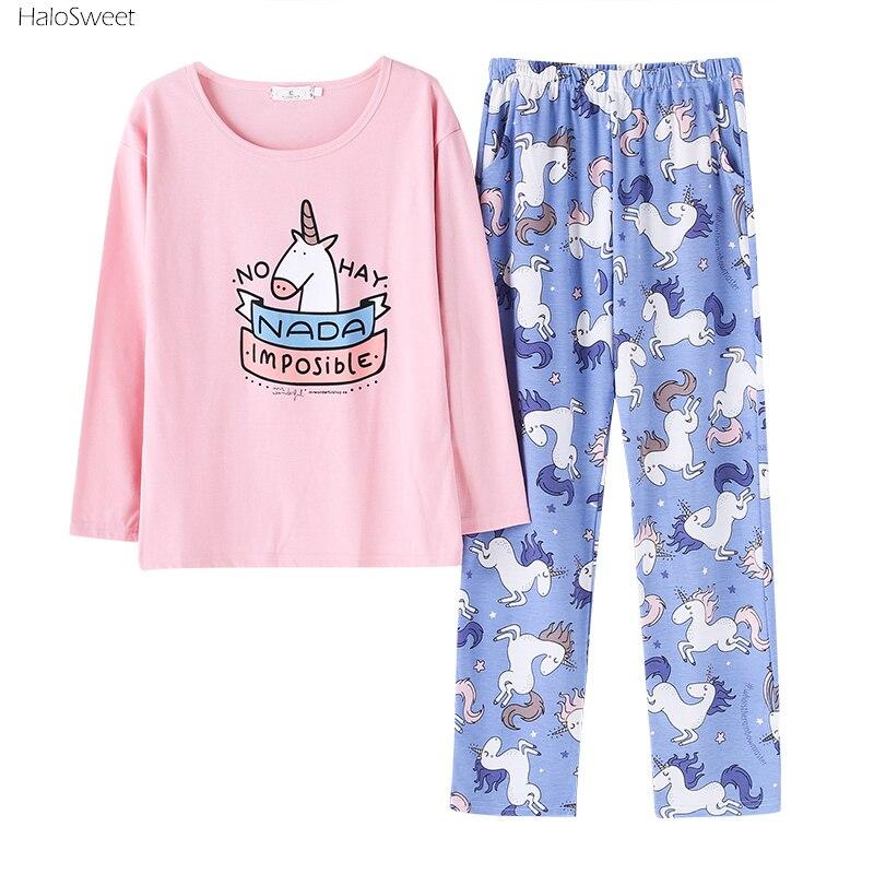 HaloSweet Cotton Long Sleeve Sleepwear Women Unicorn Pajamas Suit Female Pyjamas Pants Home Clothes For Women Unicornio Indoor