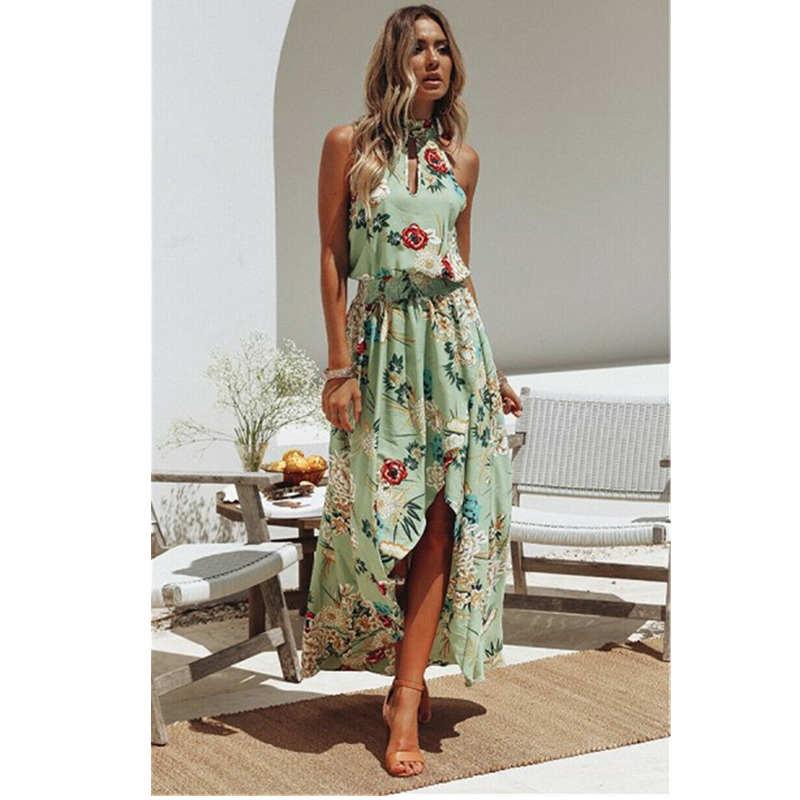 2020 Feminino Summer Boho Women Floral Maxi Dress Beach Dress Female Halter Sleeveless Elegant Ladies Vestido Sundress