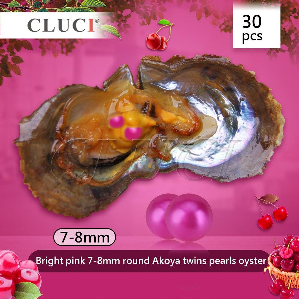 CLUCI livraison gratuite 30 pièces sous vide 7-8mm ronde jumeaux Akoya perles huître coquille perle rose vif perles huître cadeau