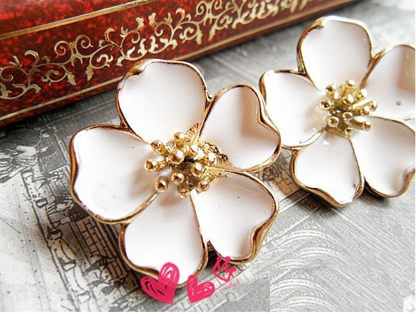 Fashion Hot Sale New Style White Jasmine Flower Stud Earring E64