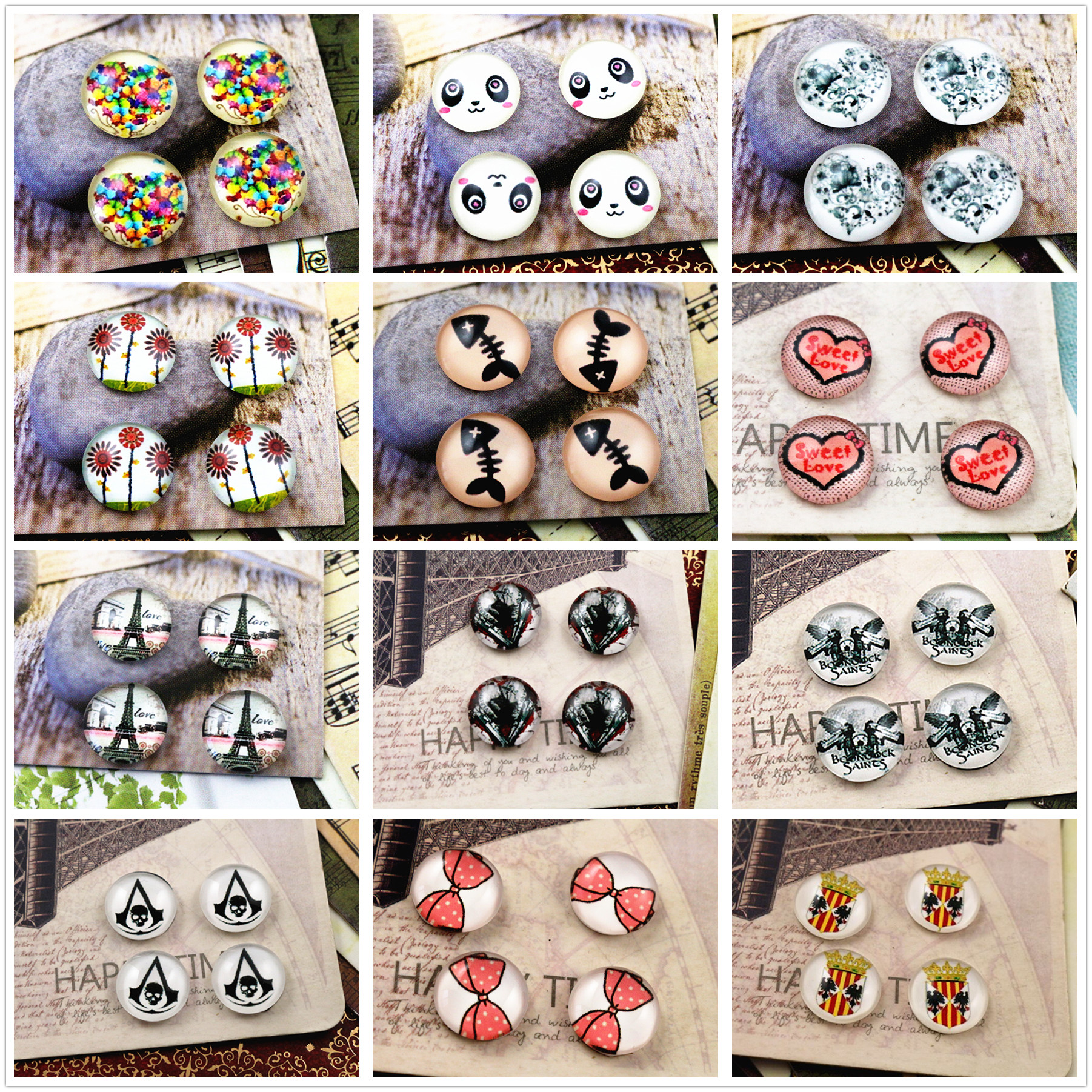 New Fashion  20pcs 12mm Handmade Photo Glass Cabochons  (Hot Style Series)