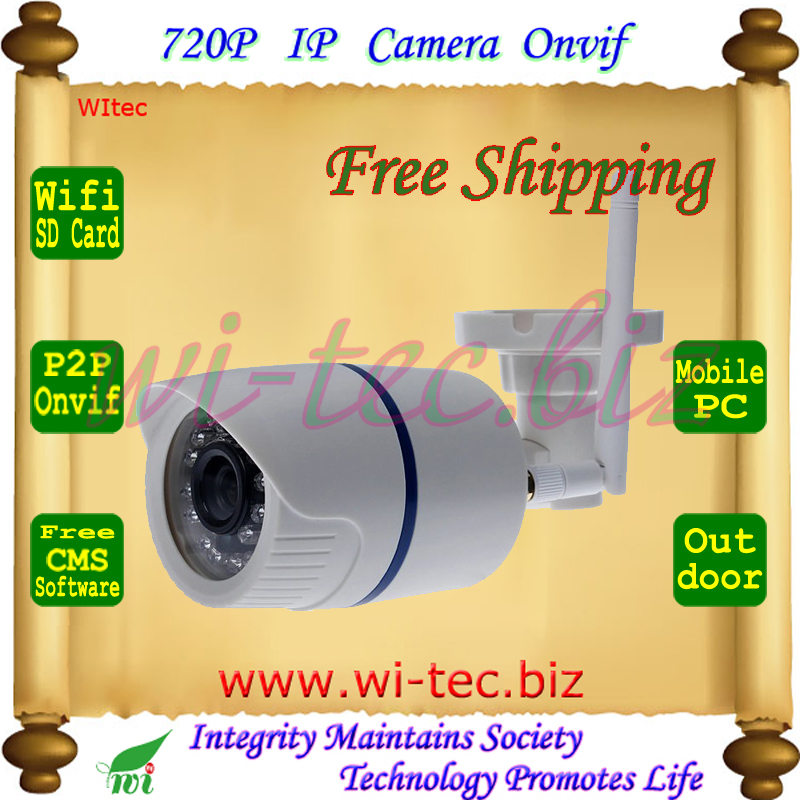 WIFI 720P IR Security Bullet ONVIF Waterproof Night Vision P2P IP Cam IR Cut 1.0MP Network Megapixel Camera Support SD Card wifi wired security ip camera 1080p 2 0mp onvif p2p ir cut motion detection with sd card remote viewing bullet cctv security cam