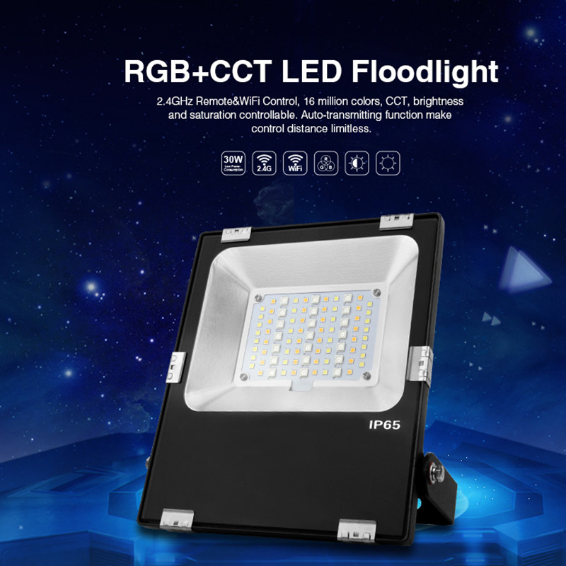 FUTT03 AC 85V - 265V 30W 2.4G wifi RGB + CCT LED Floodlight RGB + warm white and white LED outdoor lighting waterproof IP65