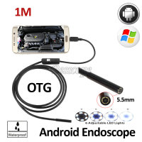 5pcs Lot Micro USB 5 5mm Len 1M Endoscope 6LED Industrial Portable Camera Endoscope Android OTG