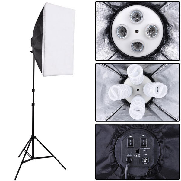 Portable Photo Studio Lighting Softbox Video Light 40*60cm Light head with 4 in 1 E27 Lamp Holder+2m Light Stand,softbox kit new arrive 240 cm 95 inch portable photo video studio tripod stand for dslr camera speedlite softbox photography light stand