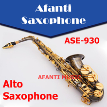Afanti Music Bb tone / Brass body / Black Nickel Gold Alto Saxophone (ASE-930)