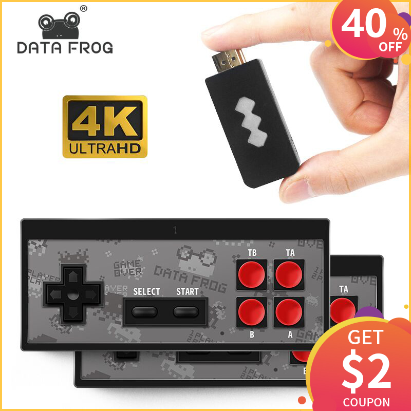 DATA FROG 4K Video Game Console Built in 568 Classic Games Mini Retro Wireless