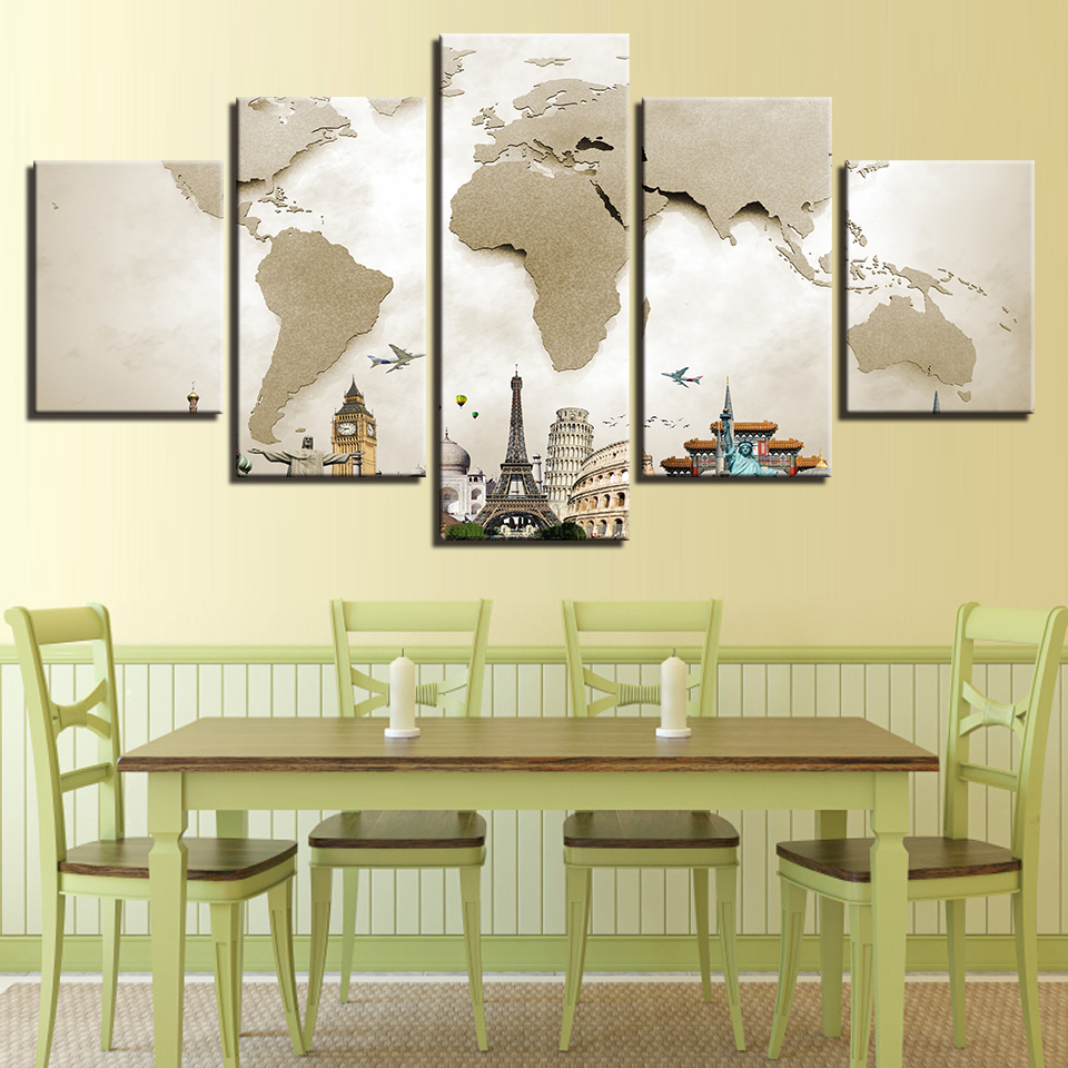 Framework Art Pictures 5 Panel World Map Vintage Home Decor ...