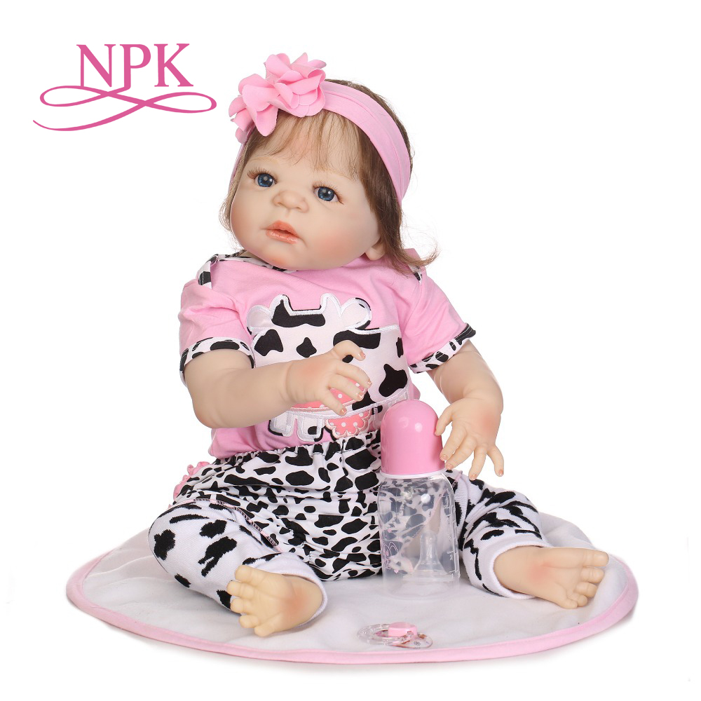 NPK Real 57CM Full Silicone Body Girl Reborn Doll Alive Baby Bath Toys Lifelike Princess Toddler Fashion Doll Bebe Reborn Menina adorable soft cloth body silicone reborn toddler princess girl baby alive doll toys with strap denim skirts pink headband dolls