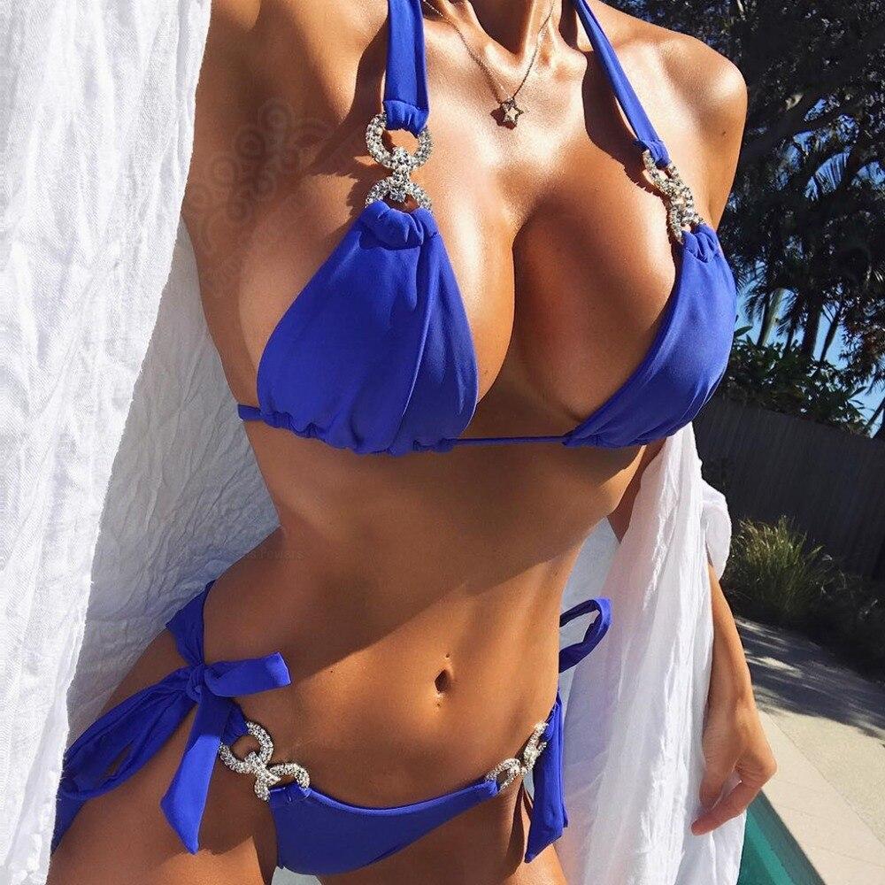 Women Bikini 2018 Bandage Sexy Shiny Rhinestones Swimwear Bathing Suit Push Up Yellow Solid Swimsuit Brazilian Beachwear
