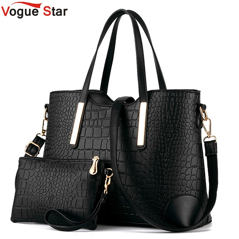 New 2017 women handbags leather hand bag  crocodile crossbody bag shoulder messenger bags clutch tote+purse 2 sets sac LS570