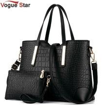 New 2017 women handbags leather hand bag crocodile crossbody bag shoulder messenger bags clutch tote+purse 2 sets sac LS570