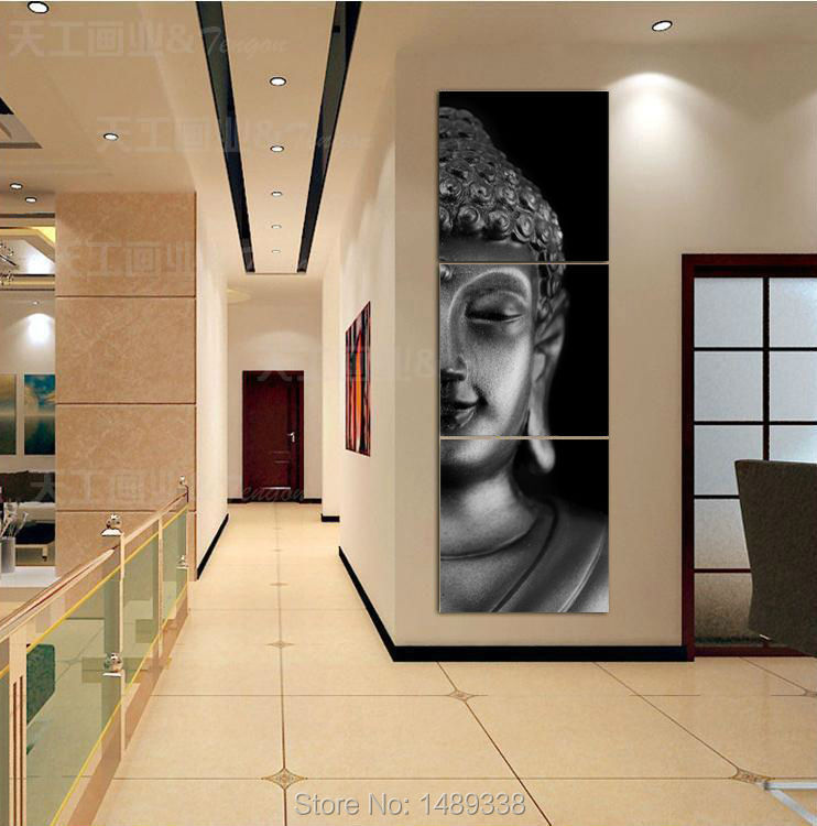 Free shipping 3 Panel Modern Buddha Print Painting Picture On Canvas living Room Decor Landscape painting With Frame T/738
