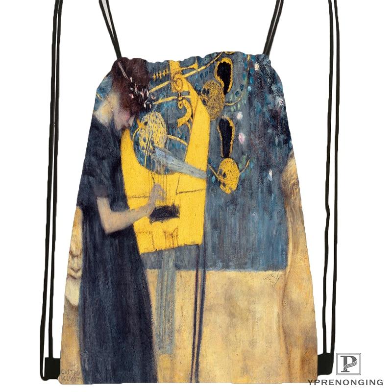 Custom Gustav Font Klimt Drawstring Backpack Bag Cute Daypack Kids Satchel Black Back 31x40cm 180531 03