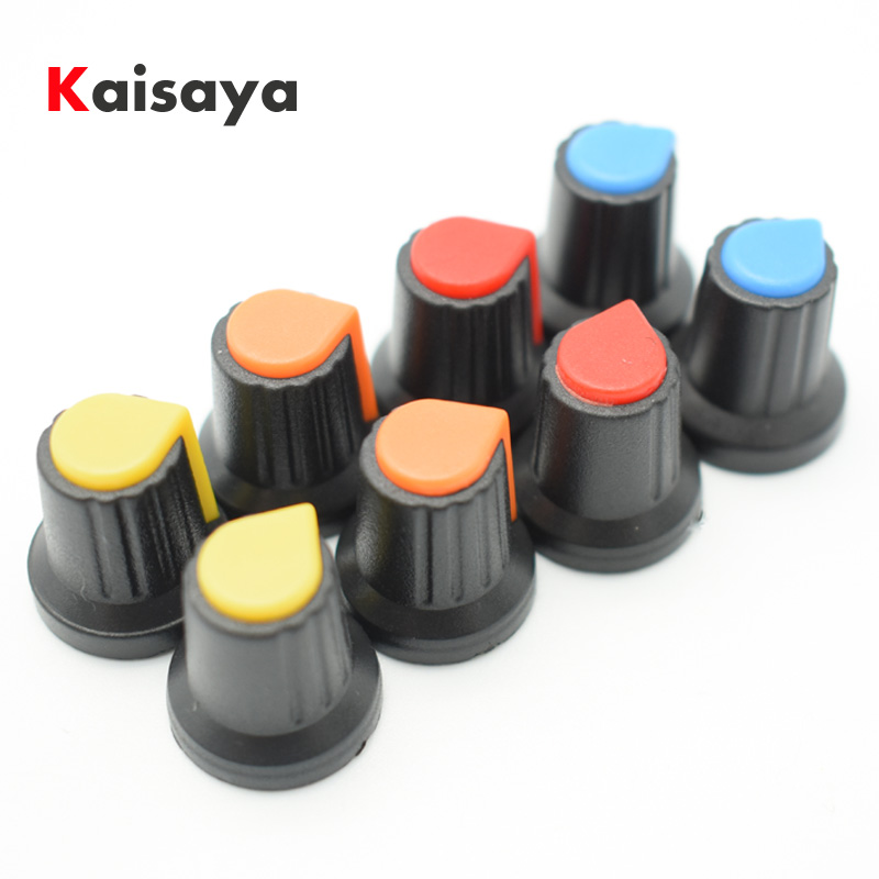 8pcs Potentiometer knob switch cap Inside diameter 6mm outside diameter 15mm * high 17mm 4 color each 2pcs B2-006