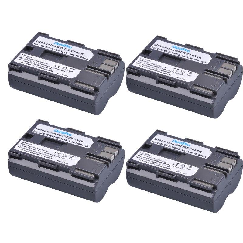 4 pz DuraPro 1800 mah BP-511 BP511 BP-511A Batteria Ricaricabile per Canon Powershot G6 G5 G3 G2 G1 EOS 300D d30 D60 D50 40D 30D