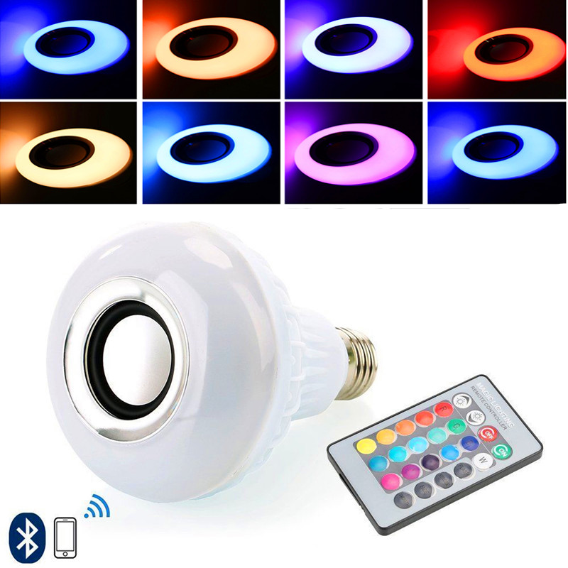 E27 Smart RGB RGBW Wireless Bluetooth Speaker Bulb Music Playing Dimmable LED Bulb Light Lamp with 24 Keys Remote Control led rgb bulb lamp app remote control e27 speaker bluetooth 4 0 music led night light