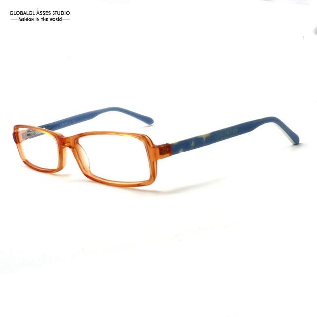 Bonito lente retângulo crianças óculos de armação de acetato de estudante menina orange star frame deboss templo azul vidro óptico 9144 450