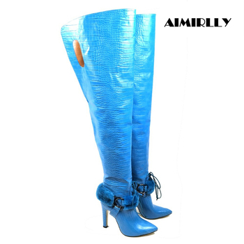 Aimirlly Women Pointed Toe High Heel Thigh High Over the Knee Boots Ankle Buckle Crocodile Pattern Winter Long Boots Blue