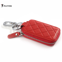 PLOVER Genuine Leather Car Key Case Holder Women Wallet Cow Leather Zipper Container Luxury Key Case
