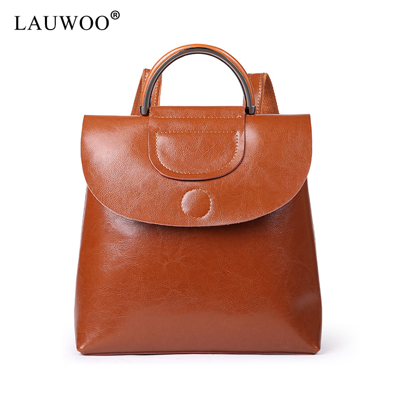 LAUWOO New Fashion women Genuine Leather backpack school bags for girls female vintage traveling backpack Casual shoulder bags lauwoo new fashion women genuine leather backpack school bags for girls female vintage multifunctional backpack shoulder bags