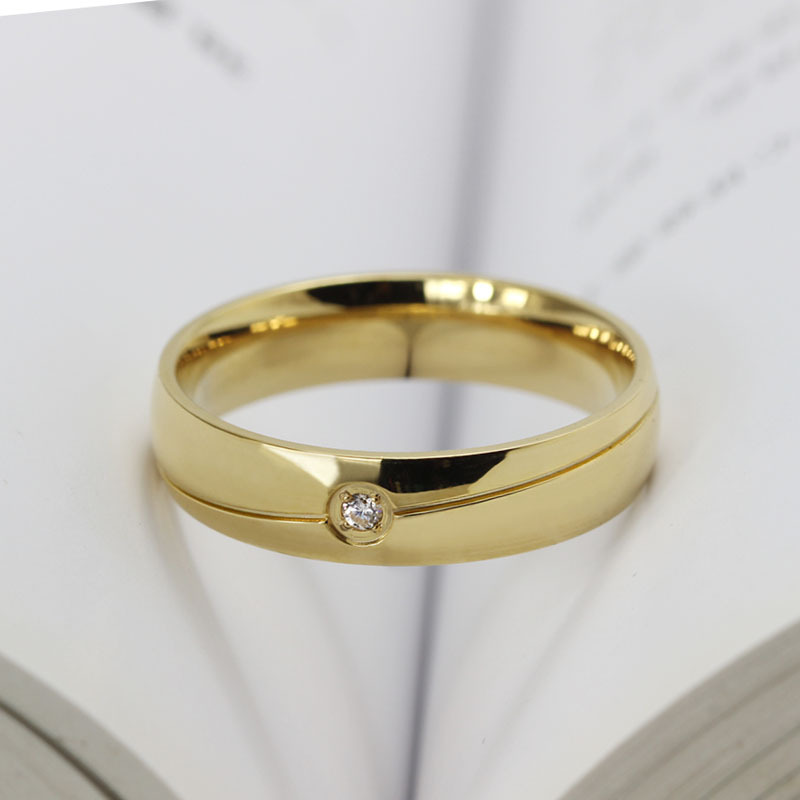 Male Female Titanium Ring Rose Gold Color Burnish AAA Cubic