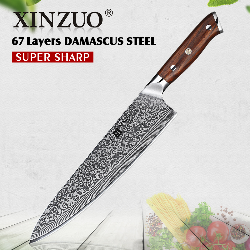 XINZUO 10 inch Chef Knife Japanese Damascus Stainless Steel Kitchen Knife Professional Gyutou Knife with Luxury