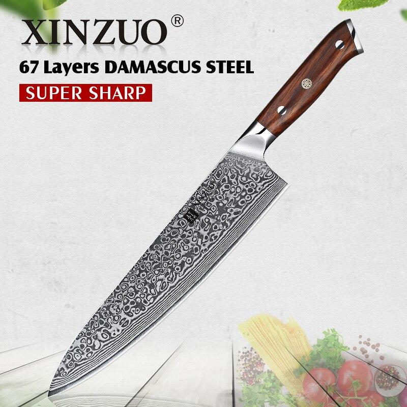 XINZUO 10 بوصة سكين الطاهي اليابانية دمشق الفولاذ المقاوم للصدأ سكين مطبخ المهنية Gyutou سكين مع الفاخرة ارتفع الخشب مقبض-في سكاكين مطبخ من المنزل والحديقة على  مجموعة 1