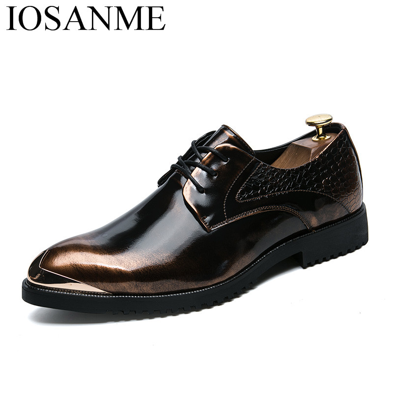 metal toe gold silver pointed toe men shoes leather cool designer italian formal ballroom dress flats male oxford shoes for men genuine leather formal men shoes metal pointed toe men dress shoes italian designer wedding men shoes luxury men flats plus size