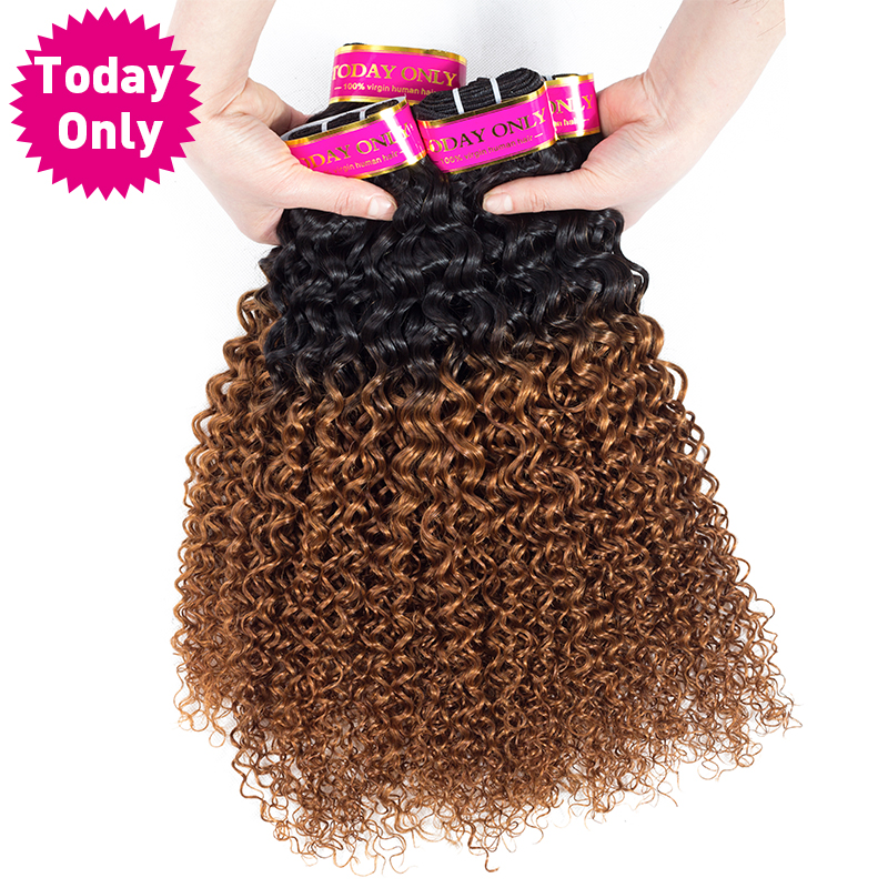 [TODAY ONLY] Kinky Curly 4 Bundles Deals Ombre Human Hair Bundles Remy Peruvian Hair Bundles Curly Weave Human Hair Extensions