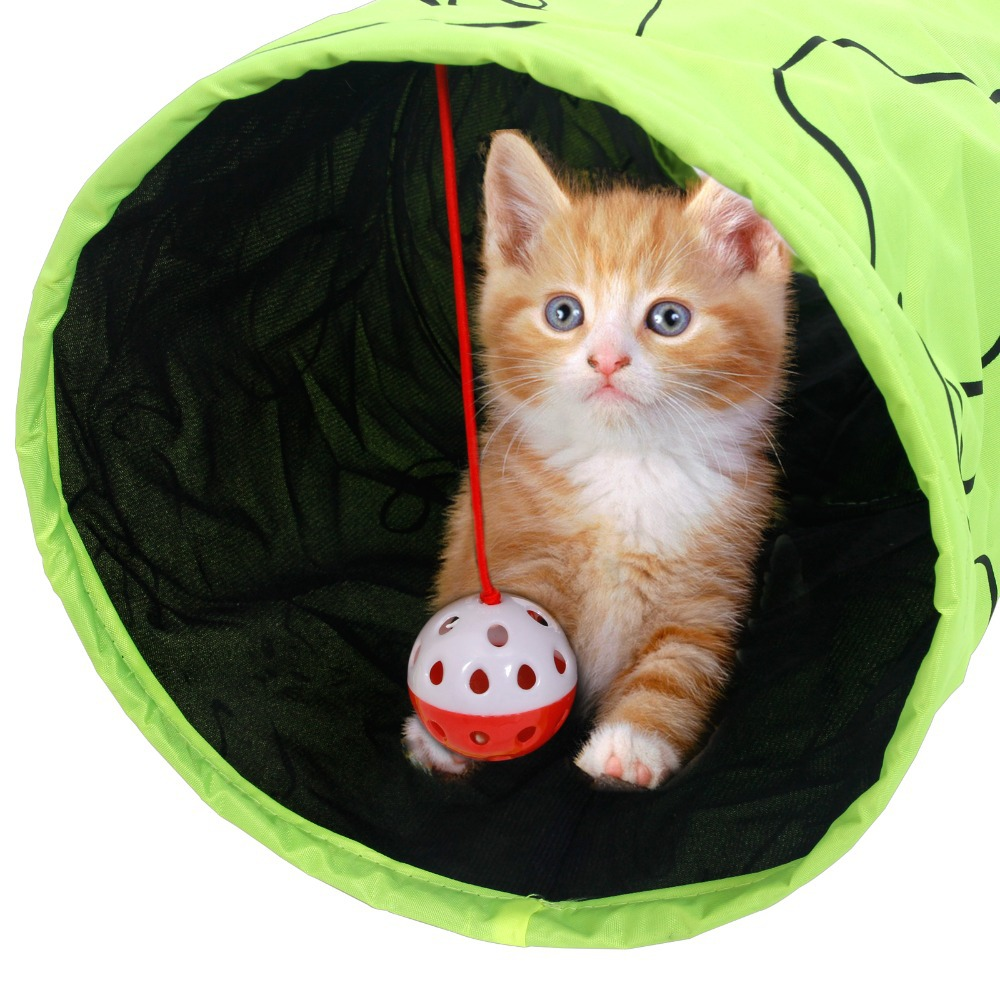 Pet Tunnel Cat Printed Green Lovely Crinkly Kitten Tunnel Toy With Ball Play Fun Toy Foldable Rabbit Play Tunnel Bulk Cat Toys