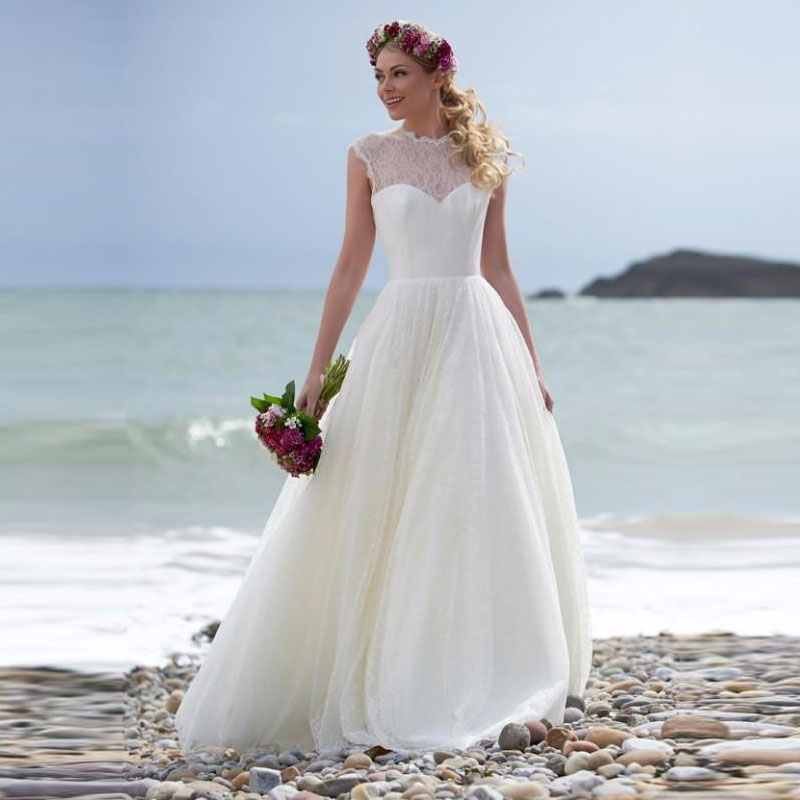 Buy cheap a line white beach wedding for Beach wedding dresses 2017