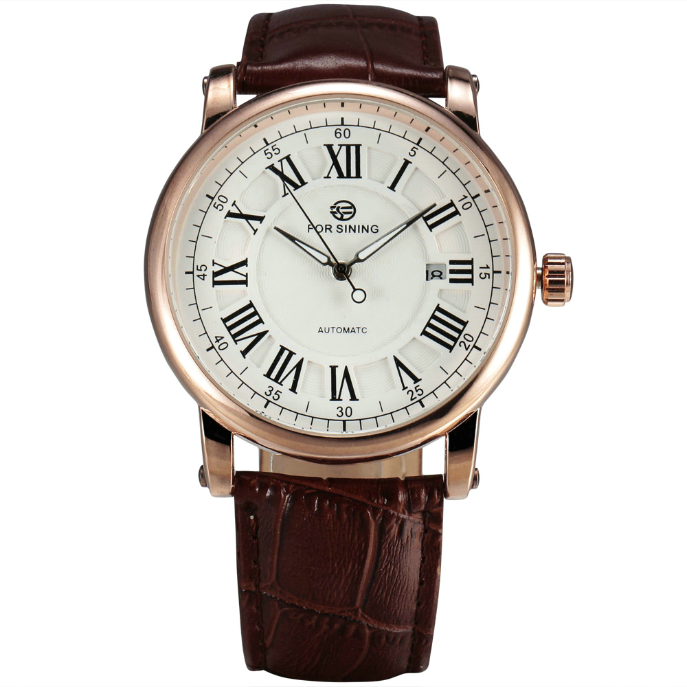 font b WINNER b font Luxury Men Automatic Watch Retro Mechanical Man Wristwatch Black Leather