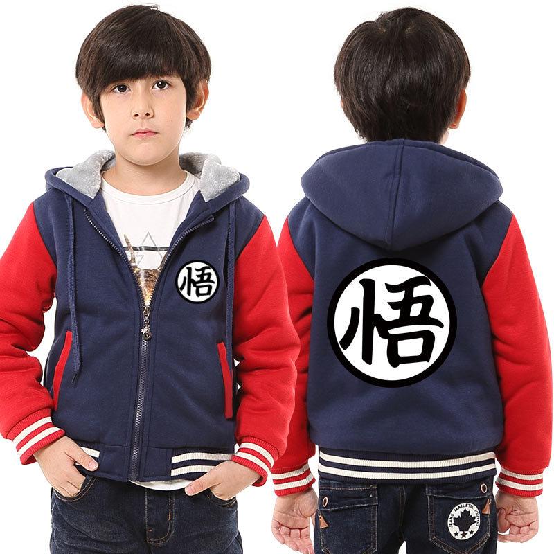 Winter Dragon Ball Z Hoodie for Kids Dragon Ball Goku Cosplay Costumes Hooded Sweatshirt Boy and Girl thick Fleece Coat 121303